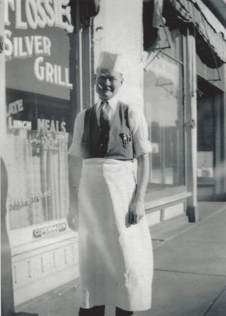 Flossie outside Silver Grill, 1933