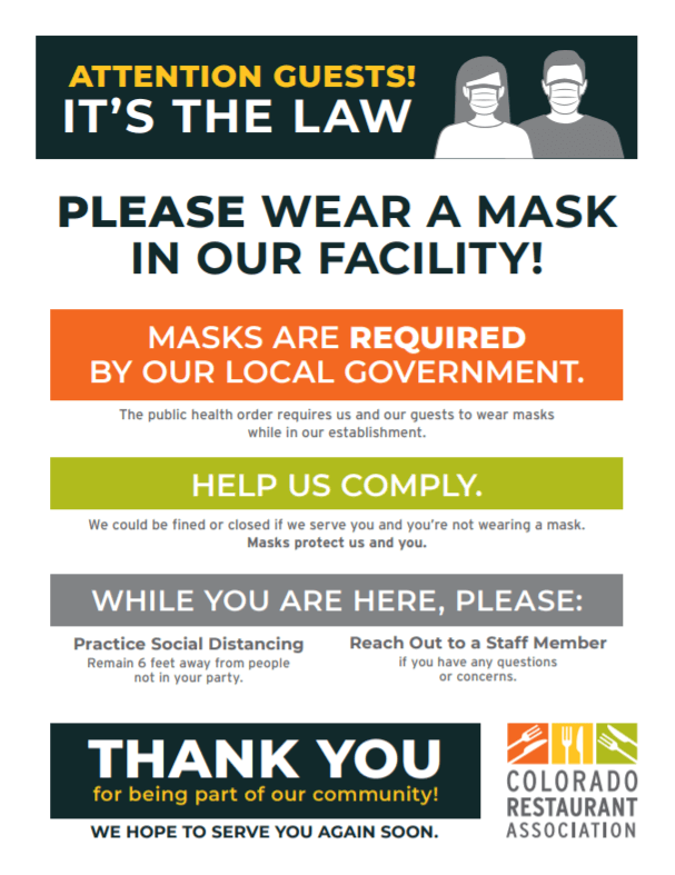 Masks poster CO Rest Assoc