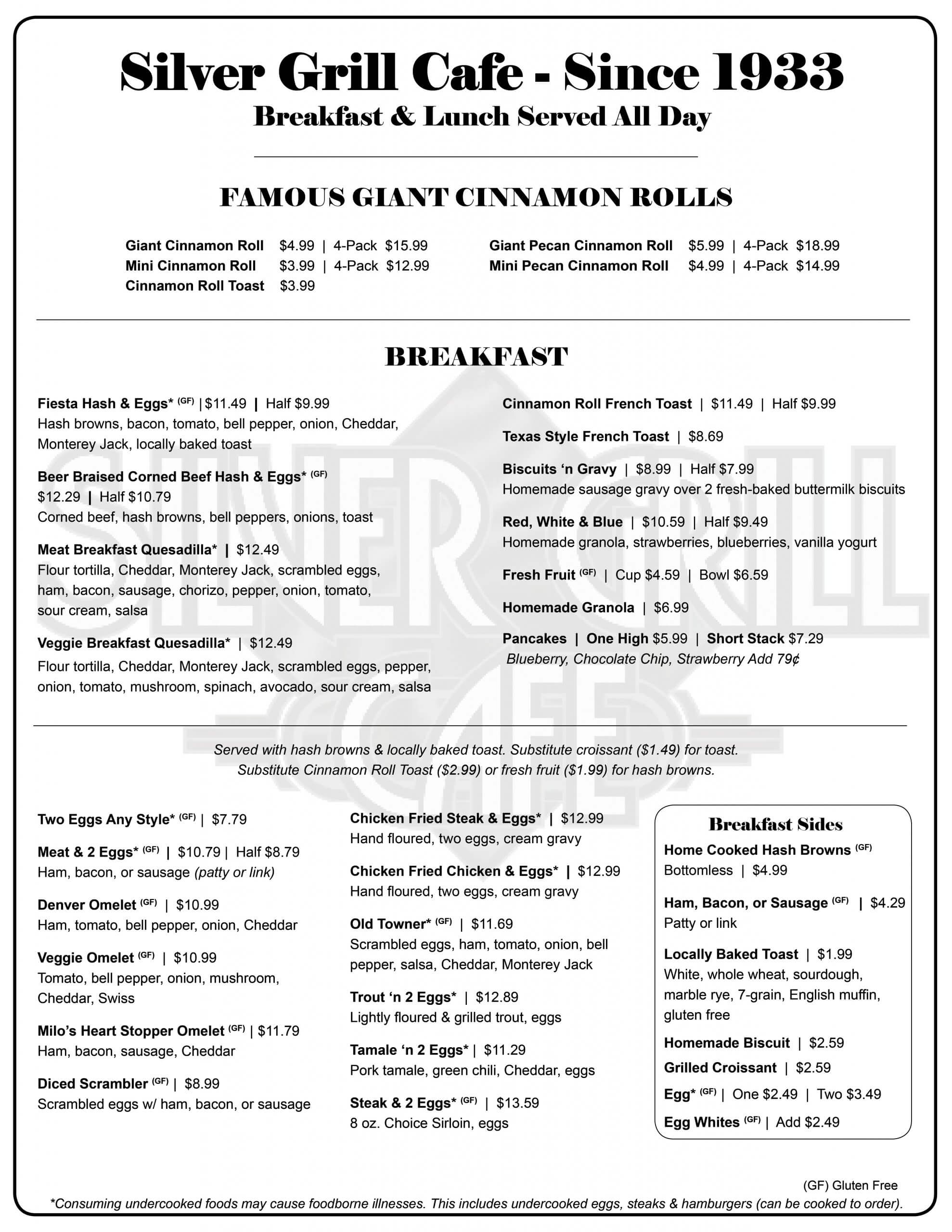 Silver Grill 8.5x11 2 sided FULL MENU 2021Update PAGE 1